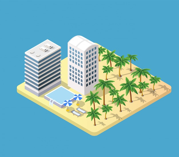 Isometric 3d hotel with a beach