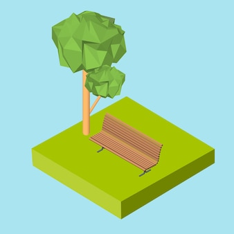 Isometric 3d icon. pictograms bench on the grass and the tree. vector illustration eps 10.