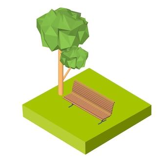 Изометрическая 3d значок. скамейка пиктограмм на траве и дереве. векторная иллюстрация eps 10