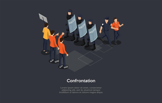 アイソメトリック3dイラスト。政府の概念と人間の対立に関する漫画スタイルのベクトル構成。人々の反乱のグループ、近くの盾を持つ警官チーム、逮捕プロセス、インフォグラフィック。