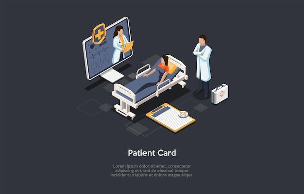 Isometric 3d illustration. cartoon style vector composition on patient personal medical card concept. healthcare service data, private clinic information base. customer, doctors, desktop computer.