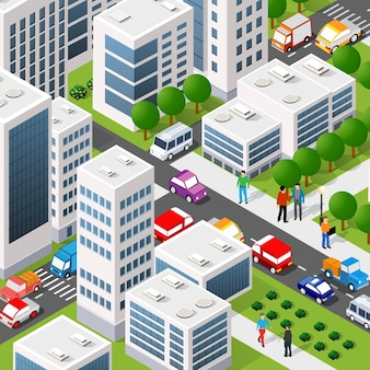 Isometric 3d illustration of the city quarter with houses, streets, people, cars.