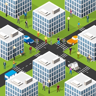 Isometric 3d illustration of the city quarter with houses