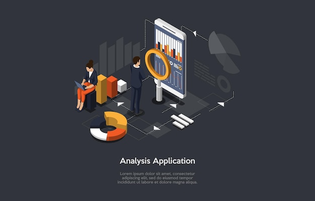 Isometric 3d illustration on dark blue with writing. cartoon composition, analysis application, business analytics concept