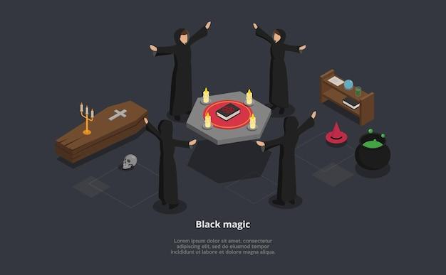 黒魔術の儀式の等尺性3dイラスト。 loremipsumテキストを使用したベクトル構成。テーブルの周りで儀式を行う黒いマントルピースの4人のキャラクター