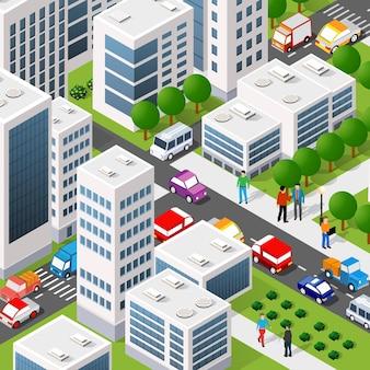 Изометрическая трехмерная иллюстрация городского квартала с домами, улицами, людьми, автомобилями.