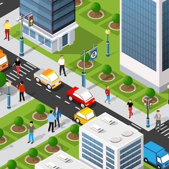 住宅のある市街地の等角投影図