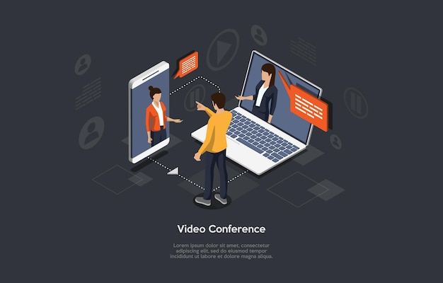 Isometric 3d illustration of online meeting concept.