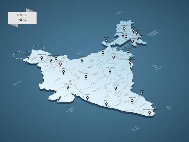 等尺性3dインド地図イラストコンセプト