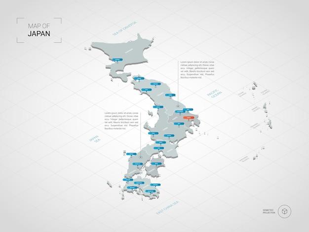 Изометрическая 3d карта японии.