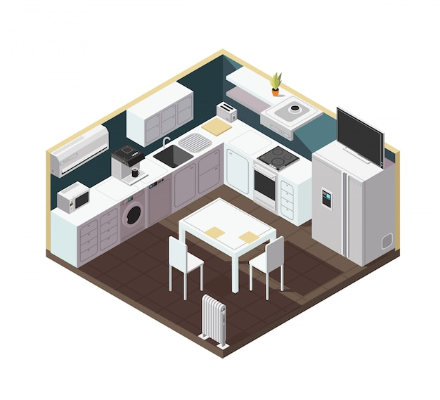 Isometric 3d kitchen interior with household appliance, equipment and furniture