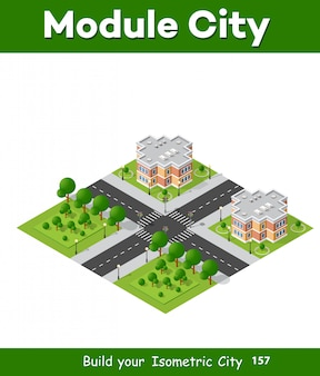 Isometric 3d landscape of the city. top