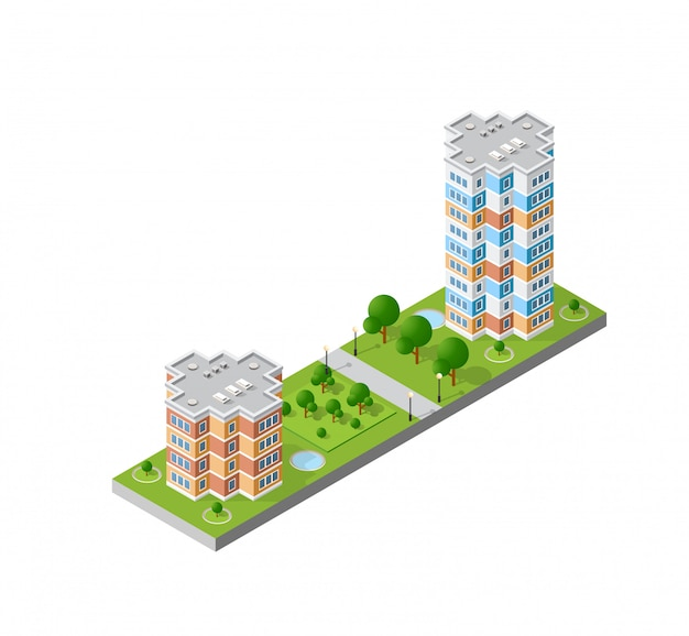 Isometric 3d landscape of the city