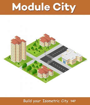 Isometric 3d landscape top view building of modern