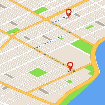 Isometric 3d map with location pins. gps navigation vector background