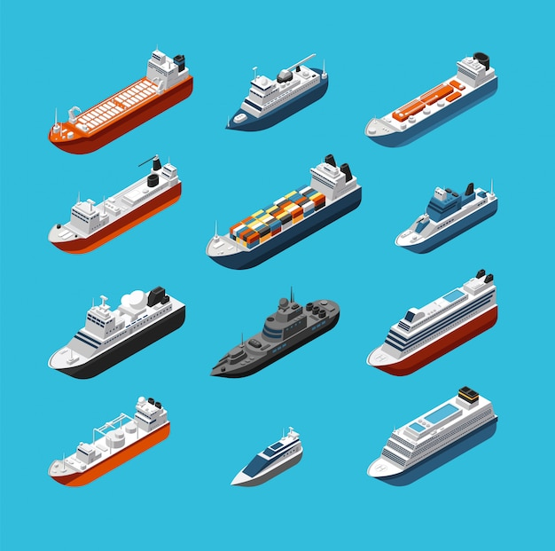 Isometric 3d military and passenger ships, boat and yacht vector sea transportation and shipping isolated