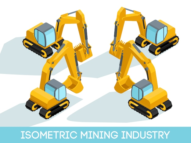 Isometric 3d mining industry, mining equipment and vehicles isolated vector illustration