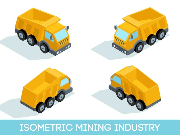 Isometric 3d mining industry set, mining equipment and vehicles isolated vector illustration