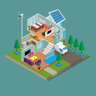 Isometric 3d modern green eco home