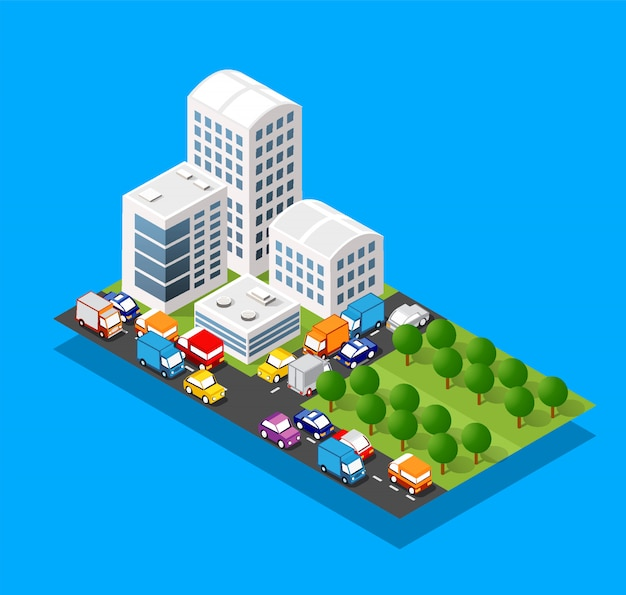 Isometric 3d module block district part of the city