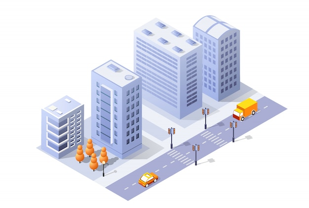 Isometric 3d module block district part