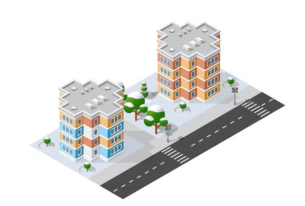 Изометрическая 3d модуль блока районной части