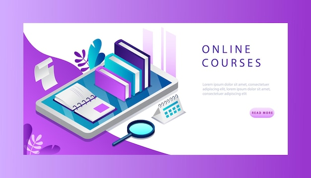 Изометрическая 3d концепция онлайн-курса. целевая страница веб-сайта.