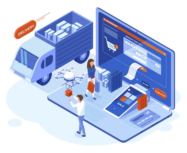 Изометрическая 3d концепция интернет-покупок, платежей и доставки. люди делают покупки, используя векторные иллюстрации онлайн-приложений для ноутбуков. интернет-магазин покупки и доставки. проверка кредитной карты