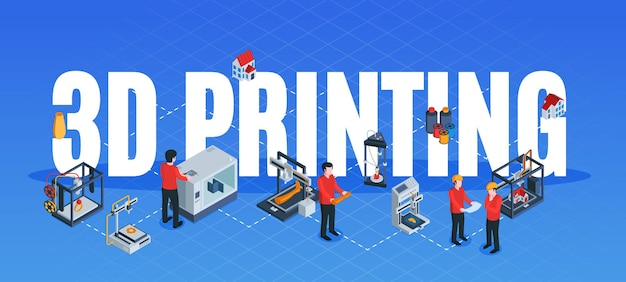 Isometric 3d printing composition with text surrounded by flowchart of human characters with hardware device elements  illustration