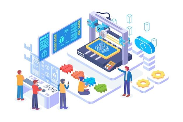 아이소메트릭 3d 인쇄 기술 벡터 개념