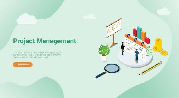 Isometric 3d project management concept for website template landing