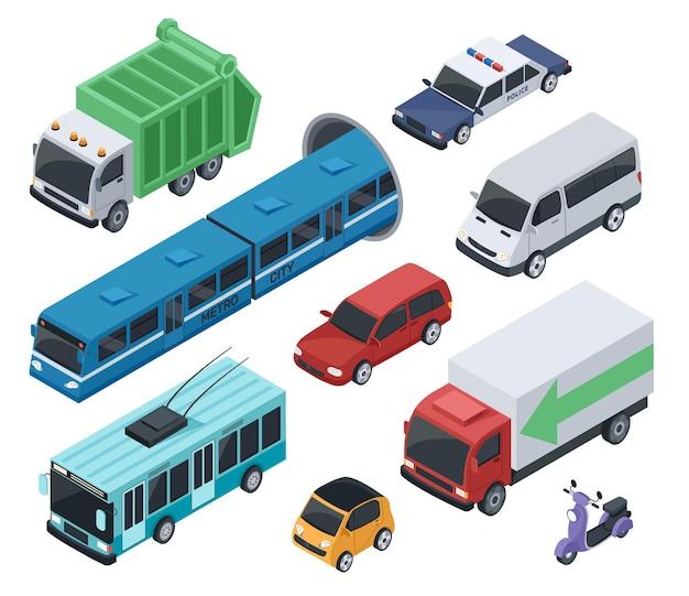 Изометрическая 3d общественный транспорт и городской автомобиль, грузовик, фургон, поезд метро, полицейский автомобиль, векторный набор