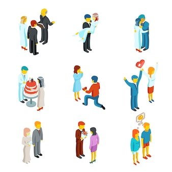 Isometric 3d relationship and wedding people icons set.  couple love, people woman and man family