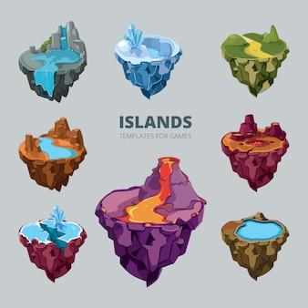 비행 섬의 아이소 메트릭 3d 집합입니다. 풍경 만화 자연, 토지 판타지, 바위와 땅과 산 게임, 벡터 일러스트 레이 션