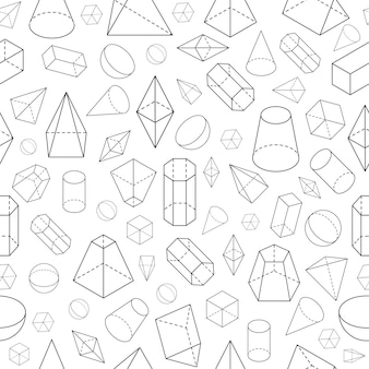 等尺性3d形状シームレスパターン幾何学的数学ワイヤーフレームオブジェクトピラミッドプリズム球コーンキューブ