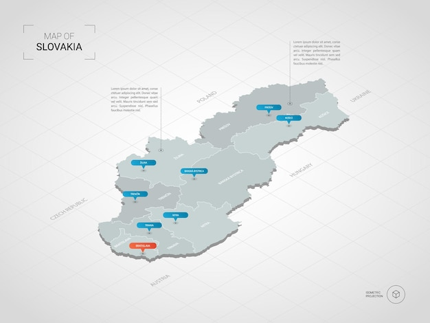 アイソメトリック3dスロバキアマップ。