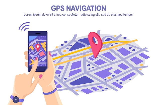 Isometric 3d smartphone with gps navigation app, tracking. mobile phone with map application