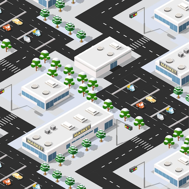 Isometric 3d street downtown architecture district part of the city with outdoor road buildings.