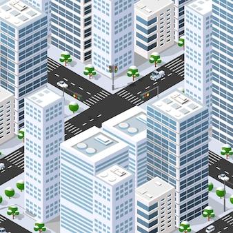 等尺性 3 d 通りのダウンタウンの建築地区の一部で、屋外の道路の建物があります。