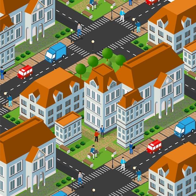 屋外の道路の建物がある街のアイソメトリック3dストリートダウンタウン建築地区の一部。