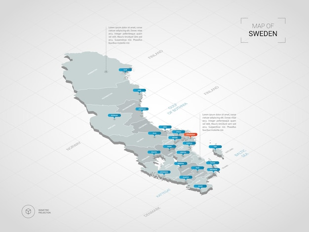 Isometric  3d sweden map.