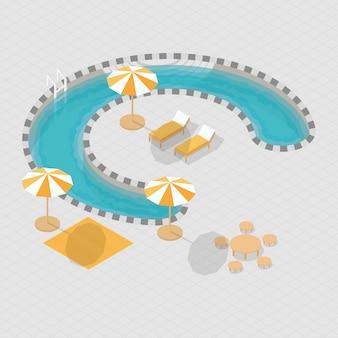 Isometric 3d swimming pool alphabet c