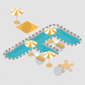 Isometric 3d swimming pool alphabet f