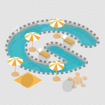 Isometric 3d swimming pool alphabet g