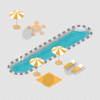 Isometric 3d swimming pool alphabet i