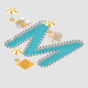 Isometric 3d swimming pool alphabet m