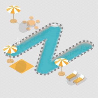Isometric 3d swimming pool alphabet n