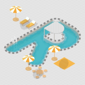 Isometric 3d swimming pool alphabet r