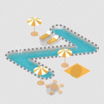 Isometric 3d swimming pool alphabet z