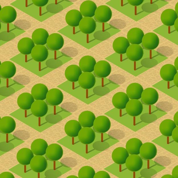 Изометрическая 3d деревья парк лес кемпинг элементы природы для ландшафтного дизайна. векторная иллюстрация для карт города, игр и вашего города